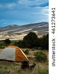 tent camping at the sand dunes... | Shutterstock . vector #461273641