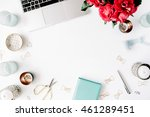 flat lay  top view office table ... | Shutterstock . vector #461289451