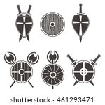 set of  vector medieval boards... | Shutterstock .eps vector #461293471