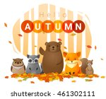 hello autumn background with... | Shutterstock .eps vector #461302111