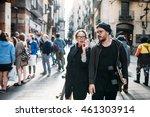the lovely couple in love... | Shutterstock . vector #461303914