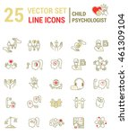 set vector line icons in flat... | Shutterstock .eps vector #461309104