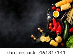 frame of vegetables  healthy or ... | Shutterstock . vector #461317141