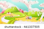 candy land. sweet landscape ... | Shutterstock .eps vector #461337505