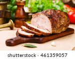 roast pork with herbs and... | Shutterstock . vector #461359057