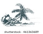 tropical beach with palm trees...   Shutterstock .eps vector #461363689