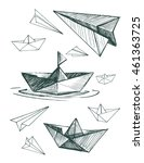 paper boats and planes set.... | Shutterstock .eps vector #461363725