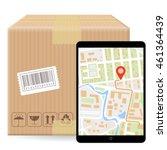 brown closed carton parcel... | Shutterstock .eps vector #461364439