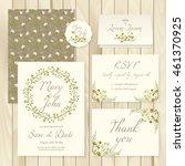 vector set of vintage floral... | Shutterstock .eps vector #461370925