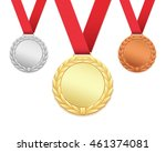 set of three medals isolated on ... | Shutterstock .eps vector #461374081