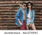 hipster young couple in trendy... | Shutterstock . vector #461374591