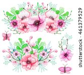 set of watercolor bouquets with ... | Shutterstock . vector #461379529