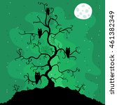 halloween themed tree with a... | Shutterstock .eps vector #461382349