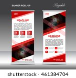 red roll up banner template...   Shutterstock .eps vector #461384704