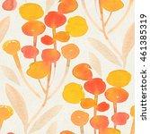 seamless watercolor botanical... | Shutterstock . vector #461385319