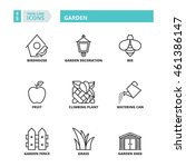 flat symbols about garden. thin ... | Shutterstock .eps vector #461386147