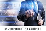 businessman is pressing on the... | Shutterstock . vector #461388454