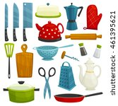 kitchen utensils isolated icons.... | Shutterstock .eps vector #461395621