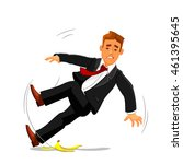 young businessman slipping on... | Shutterstock .eps vector #461395645