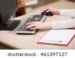 hands working on the keyboard... | Shutterstock . vector #461397127