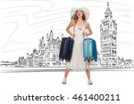 young woman travelling to... | Shutterstock . vector #461400211