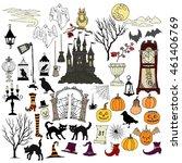 halloween. background with hand ... | Shutterstock . vector #461406769