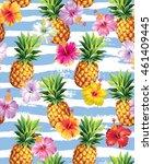 hawaiian seamless pattern with... | Shutterstock .eps vector #461409445