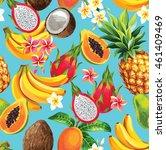 hawaiian seamless pattern with...   Shutterstock .eps vector #461409469