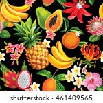 hawaiian seamless pattern with... | Shutterstock .eps vector #461409565