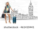 young woman travelling to... | Shutterstock . vector #461410441