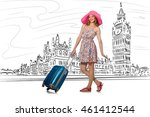 young woman travelling to... | Shutterstock . vector #461412544