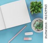 minimal flat lay   notepad  ... | Shutterstock . vector #461429965