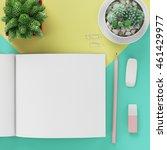 minimal flat lay   notepad  ... | Shutterstock . vector #461429977