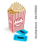 box with popcorn and movie... | Shutterstock .eps vector #46143064