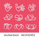 hand with heart icon. heart... | Shutterstock .eps vector #461432401