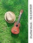 Small photo of Acoustic ukulele with hat on green grass