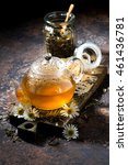 chamomile tea in a glass teapot ...   Shutterstock . vector #461436781