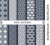 chinese pixel pattern  textile  ... | Shutterstock .eps vector #461441245