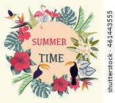 summer time tropical... | Shutterstock .eps vector #461443555