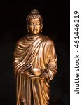 Small photo of Buddha holding alms bowl statue in Theravada Buddhism