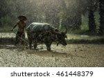 farmer in the rain  farmers... | Shutterstock . vector #461448379
