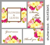 invitation with floral... | Shutterstock . vector #461453641