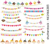 colorful flags  garlands set... | Shutterstock .eps vector #461466385