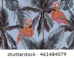 pink flamingos  exotic birds ... | Shutterstock .eps vector #461484079