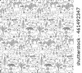 doodle tropic forest animals... | Shutterstock .eps vector #461492347
