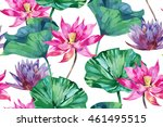 tropical watercolor flowers ... | Shutterstock .eps vector #461495515