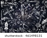space background with a large... | Shutterstock . vector #461498131
