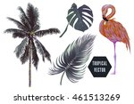 pink flamingo  tropical jungle... | Shutterstock .eps vector #461513269