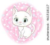 cute white kitten on romantic... | Shutterstock .eps vector #461518117