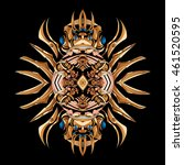 unusual mandala painted in gold ... | Shutterstock .eps vector #461520595